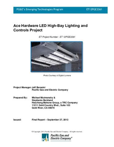 LED High-Bay Lighting and Controls Project | ETCC